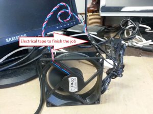 Spliced PC Fan and power adapter